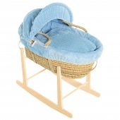 Isabella Alicia Maize Baby Moses Basket With Pine Stand - Bubble Blue