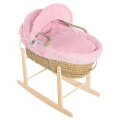 Isabella Alicia Maize Baby Moses Basket With Pine Stand - Bubble Pink