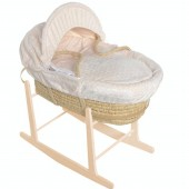 Isabella Alicia Maize Baby Moses Basket With Pine Stand - Bubble Cream