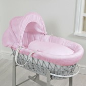 4baby Deluxe Padded Grey Wicker Moses Basket - Pink Waffle