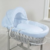 4baby Deluxe Padded Grey Wicker Moses Basket - Blue Waffle