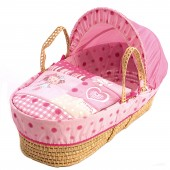 Clair De Lune Palm Moses Basket - My Dolly Pink