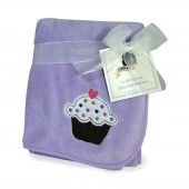 Kidsline Embroided Fleece BOA Pushchair / Pram / Moses Basket / Crib / Car Seat Blanket - Lilac Cupcake